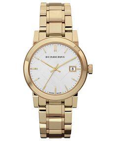 Burberry Watch, Women's Swiss Gold Tone Stainless Steel Bracelet 34mm BU9103 - Burberry - Jewelry & Watches - Macy's