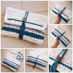 。 #Hooked #RIBBONXL を使用した#クラッチバッグ です! カラー…ホワイト、ターコイズブルー、ライトグレー サイズ…横約27㎝×縦約18㎝×マチ約2㎝ 一般的な長財布、スマホ、鍵、定期入れなとが入る大きさです。 #クラッチ #フックドゥ #ズパゲッティ #かぎ針編み #編み編み #ハンドメイド #バッグ #ニットクラッチ #handmade #bag #ロンハーマン #夏 #summer #handmadecomomo