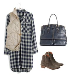 """""""Madewell Flannel Shirtdress"""" by tjmcd ❤ liked on Polyvore featuring Madewell, Dooney & Bourke and J.Crew"""