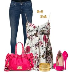 """Floral Hot Pink Spring Outfit"""