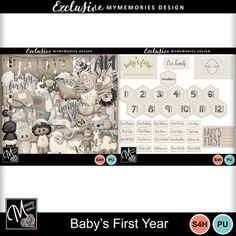 Digital Scrapbooking Kits   Babys First Year-(MemMos)   Babies, Celebrations, Family, Memories   MyMemories Babies First Year, Neutral Colour Palette, Family Memories, Paint Shop, Photoshop Elements, Paper Background, Beautiful Babies, Scrapbooks, Scrapbook