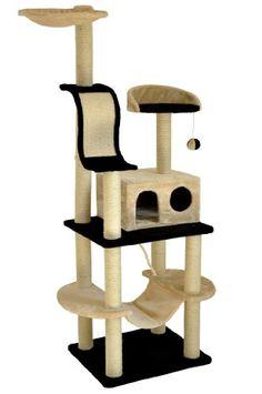 nanook Kratzbaum Niklas 4 - Schwarz / beige - 186 cm - mit robuster Katzenhöhle, Kratzbrett, Katzenspielzeug und - http://www.kratzbaum-bestellen.de/produkt/nanook-kratzbaum-niklas-4-schwarz-beige-186-cm-mit-robuster-katzenhoehle-kratzbrett-katzenspielzeug-und/