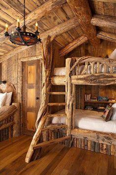 Kids room in log cabin