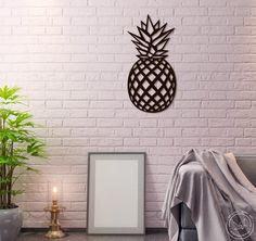 Metal Wall Art Geometric Pineapple Home Decor Interior Sign Steel Polygonal Scandi Minimalistic Idea
