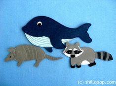 Приятного творчества!  Вас ждут фото мастер классы по шитью игрушек из фетра с липучками кита, енота и броненосца.