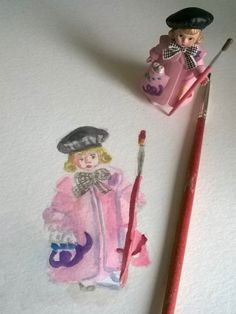 Mini Madame Alexander Doll The Painter #WorldWatercolorMonth 7-14-16 Cynthia Maniglia Sand Salt Moon