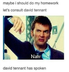 David Tennant has spoken. And it's funny because usually these kind of thing tell you to do your homework. Just another reason to love him.