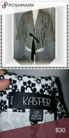 Gorgeous jacket Black and white design, black belt with tie front, 3/4 length sleeves, EUC Kasper Jackets & Coats Blazers