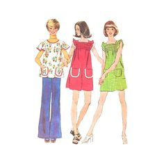Vintage 1970s Smocked Boho Dress Pattern Simplicity by Redcurlzs
