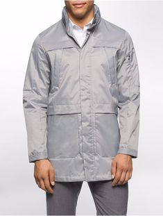Calvin Klein Men's Water Resistant Metallic Parka Monument Gray Jacket M $249 #CalvinKlein #Parka