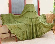 Boho Gypsy Tiered Ruffle Maxi Cotton Skirt in by SoulshineStore