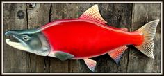 KOKANEE SALMON fish wood carving wall mount 22 inch by WOODNARTS, $125.00
