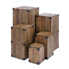 DecMode Rectangular Farmhouse Style Rustic Wood Pedestal Tables Set of Brown Wood Pedestal, Pedestal Tables, End Table Sets, Side Tables, Wooden Crates, Wooden Blocks, Wooden Diy, Handmade Wooden, Wood Planks
