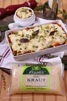 Rustic Meat Veg and Kraut Cottage Pie – BaconFatte.com - #sauerkraut #frankskraut #casseroles #cottagepie #dinner