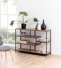 78 cm AMBRA Imitation oak and black- Étagère H. 78 cm AMBRA Imitation chêne et noir The AMBRA shelf will bring out your decorative objects thanks to … - House Furniture Design, Loft Furniture, Iron Furniture, Steel Furniture, Classic Furniture, Living Furniture, Home Decor Furniture, Modern Furniture, Furniture Dolly