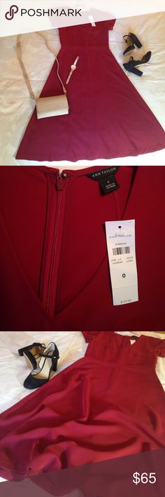 """Ann Taylor Cranberry Midi A-line Dress NWT, never worn, 100% Polyester, Size 0 (fits like a 4). Elegant fall/winter piece, great for the Holidays. Super soft and silky, light and breathable. Bust: 16"""", Waist: 14"""", Length from Waist: 25"""". Ann Taylor Dresses Midi"""