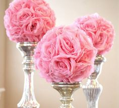 Beautiful artificial flower ball pomanders for an inexpensive kissing ball. There is a satin and/or metallic ribbon for holding. Can be used on their own or combined with fresh flowers or crystal elem