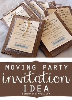 How stinkin' clever is this moving party invite? Such a great way to send off dear friends or family!