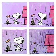 Snoopy. Barbecue and rain.