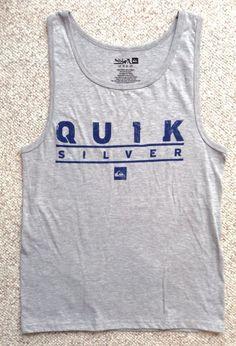 e0c2a9833db7a new QUIKSILVER TANK TOP Gray Navy-Blue Beach Muscle T-Shirt MENS MED