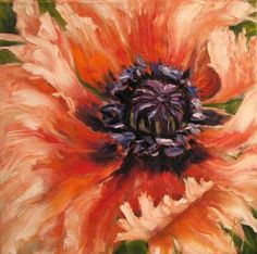 Peach poppy oil painting | Fringed Beauty