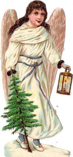 Oblaten Glanzbild scrap die cut chromo Winter Engel angel Laterne lantern XMAS