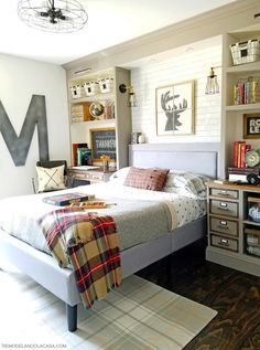 teen boy room with rustic industrial fall decor