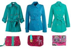 Shopping Time: Turquoise Trench Coats and Fuchsia Wallets!    fashion trends
