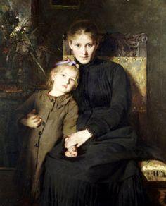 Bertha Wegmann (1847-1926): A Mother and a Daughter in an Interior