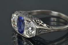 Victorian diamond and sapphire ring by ava