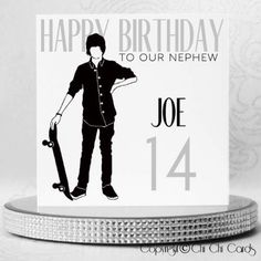 A stylish square birthday card featuring a Skateboarder, dressed in a black shirt, trousers and shoes, holding his Skateboard. The man has 6 Swarovski crystals as buttons on his shirt and there are a further 2 crystals for the Skateboard's wheels. Retro Birthday, Happy Birthday To Us, Special Birthday, Man Birthday, Luxury Birthday Cards, Birthday Cards For Men, Personalized Birthday Cards, Handmade Birthday Cards, Work Colleague