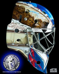 Looking to blend both the Washington Capitals and Hershey Bears on his new mask, goalie David Leggio included Mount Rushmore made out of chocolate, an effective nod to both cities.