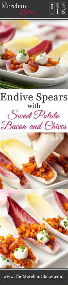 endive spears with sweet potato bacon and chives endive spears with ...