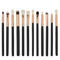 12pcs Professional Wood Handle Makeup Brush Set Cosmetic Face Eyeshadow Lip Eyeliner Brushes