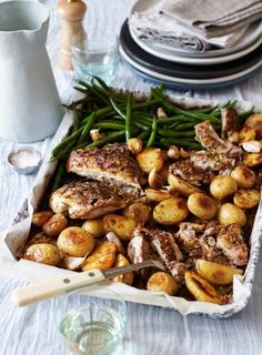 One-pan recipes are always popular and boned chickens are now readily available at butchers and supermarkets. You could also use chicken thighs.