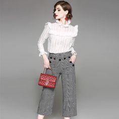 Blouses & Shirts E Toy Word Temperament Women Shirt Long Sleeve 2019 Spring Two Piece Chiffon Shirt Flare Sleeve Long Shirt Top Fashion Design
