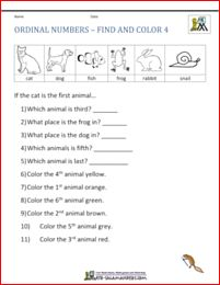 ordinal numbers worksheets find and color 4