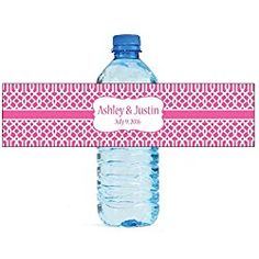 """100 Pink Trellis Moroccan Background Wedding personalized Water Bottle Labels Engagement Party 8""""x2"""""""