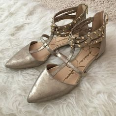 Jessica Simpson rock stud flats These are so cute but don't fit me! Great color and never worn! Shiny, metallic grey ish color Jessica Simpson Shoes Flats & Loafers
