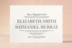 Classic Letterpress Wedding Invitations by Lauren Chism at minted.com