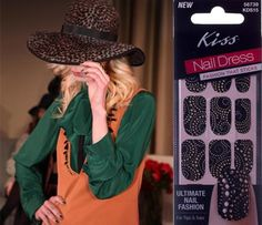 New York Fashion Week premieres new edgy black and gold studded Kiss Products nail wraps!