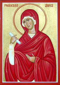 After her husband's death, Prophetess Anna led a strict and pious life, fasting and praying continuously at the Jerusalem Temple. At the age of 84, she saw baby Jesus being dedicated to God at the Temple as a firstborn under the Mosaic law, and heard the prophetic words of Saint Simeon the God-Receiver to Virgin Mary. Together with Saint Simeon, Anna glorified Christ and told everyone He was the true Messiah. She is remembered August 28th.