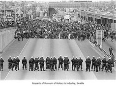University of Washington Students protest the Kent State Shootings by blocking Seattle, Washington. May 1970 Kent State University, University Of Washington, Seattle Washington, Washington State, Vietnam Protests, Vietnam War, Student Protest, Rotc, Seattle Times