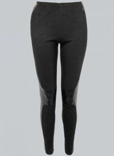 Black Leggings with Faux Leather Panels & Elastic Waist,  Bottoms, panel leggings  black leggings, Casual