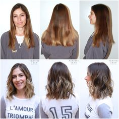 From long hair to short hair beautiful hair makeover hair for 3 brunettes and a blonde salon