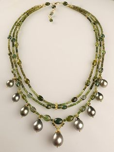 Green Tourmaline & Tahitian Pearl Multi-Strand 18kt Gold Necklace.