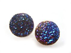 Titanium Druzy Earrings Rainbow by NakiaDesign on Etsy, $17.99