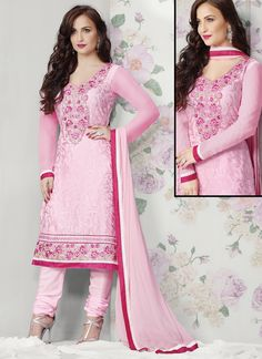 elli avram alluring pink brasso resham embroidery, lace & patch border work designer salwar kameez product comes with a matching bottom and dupatta.
