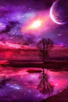 Purple Haze Moonlight reflections.  Colorful and reflective due to the slender crescent moon.