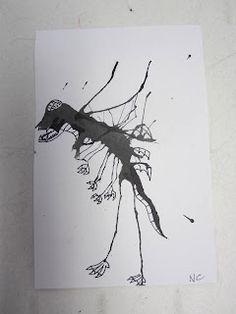 Inky Monsters art project (from an amazing art teacher's blog)